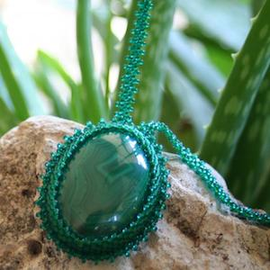 Malachite Texas Summer Healing Sunburn Aloe Necklace by ArtMasquerading