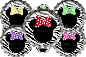 Minnie Mouse Editable Zebra Digital Bottle Cap Images 189 by BottleCapImagesbyFe