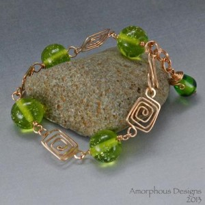 Bracelet Bronze Wire with Green Lampwork Beads by AmorphousDesigns