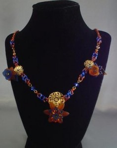 Jungle Flowers bronze and blue byzantine necklace by highlandprincessdesigns