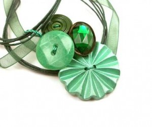 Mint Button Necklace by InstinctivelyIndie