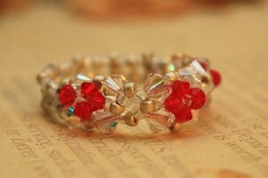Red and White Swarovski Crystal Beaded ring by wingsnscales