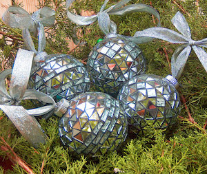 Silver Bells Mosaic Mirror Christmas Ornaments  by GlassbrookDesigns