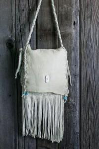 white leather fringed bag
