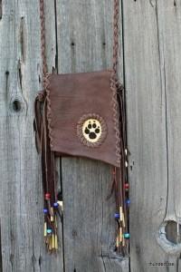 handmade beaded cross body leather bag