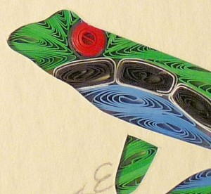handmade quilled frog art