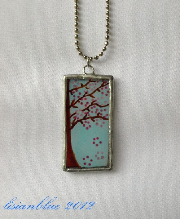 Lisianblues art world new studio opening and other hand painted stained glass pendants such as the cherry tree art glass pendant aloadofball Gallery