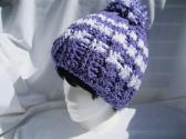 Ski Cap Crochet Purple and White Hat for Unisex Adults Winter Accessory