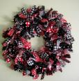 Black Red and White Rag Wreath