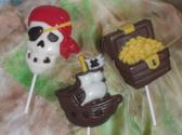 Chocolate Pirate Pirate Ship and Pirate Treasure Chest Lolliipop Set