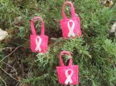 Handmade Breast Cancer Awareness Shopping Bag Tree and Gift Ornaments