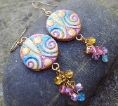 Golden Circles and Spirals Crystal Dangle Earrings