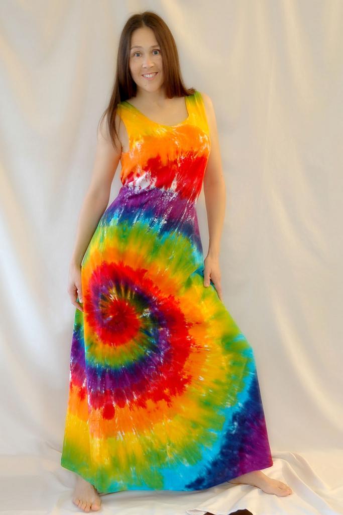 tie dye rainbow swirl hippy maxi dress on handmade artists