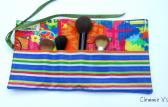 Makeup Brush Roll in bold Explosive Colors