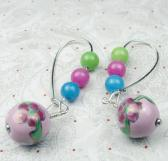 Pink Ceramic Beads with Jade rounds on large kidney wires earrings