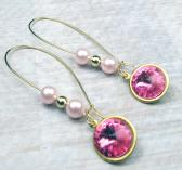 Pink Swarovski Rivoli with Glass Pearls and Gold ball earrings