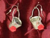 Thimbles for Buckets Red Rose Earrings