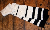 Knitted Striped Scarf in Cream and Black for Men or Women
