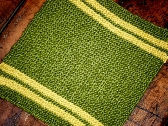 Racing Stripe Hand Knitted Washcloth in Sprout Green and Gardenia Yellow Cotton Bamboo