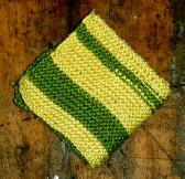 Two Tone Hand Knitted Washcloth in Snapdragon Green and Gardenia Yellow Cotton Bamboo