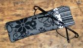 Floral Eyeglass Case in Black and White