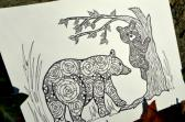 Black Bear Adult Coloring Page Instant Download