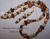 Earth Tone Wood Bead Necklace and Earring Set 1084