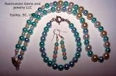 1089 Pastel blue and white bead Necklace Earring and Bracelet Set