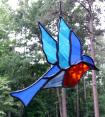 Bluebird in stained glass