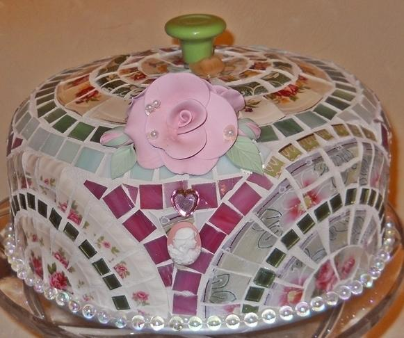 Broken cut china mosaic cake dome handmade w glass for Colored glass cake stand
