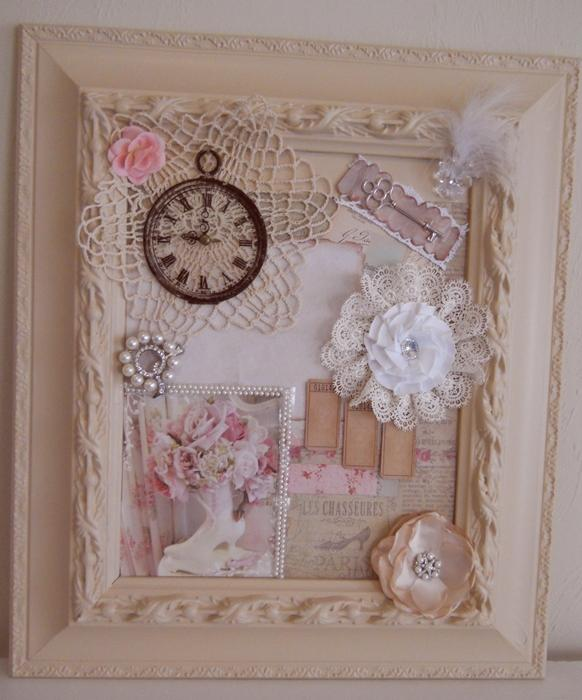 handmade shabby chic frame collage cottage chic mixed media wall art on handmade artists 39 shop. Black Bedroom Furniture Sets. Home Design Ideas