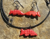 Red Aardvarks necklace and earring set