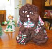 Yarn Dog in Brown with Variegated D