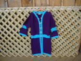Size 12 to 14 Deep Amethyst and Turquoise Sweatercoat for Fall to Spring