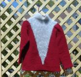 Burgundy Pullover Sweater with Pale Gray Angora Deep V Inset and Collar Size medium