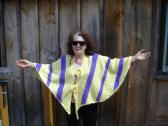 Early Fall or Spring Cape in Sunshine Yellow and Grape
