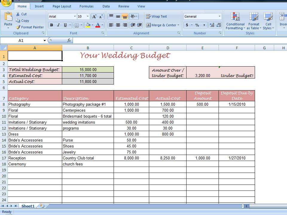 wedding planning spreadsheet excel