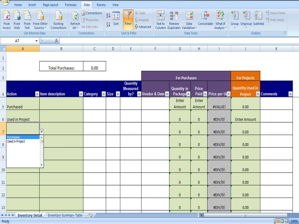 Excel Inventory Template