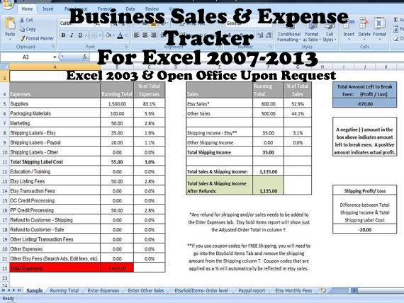 business income and expenses spreadsheet