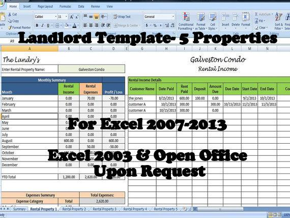 Landlords spreadsheet template rent and expenses worksheet for Rental property income statement template