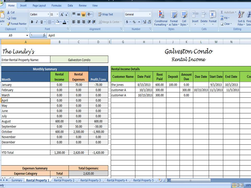 Rental expense worksheet excel