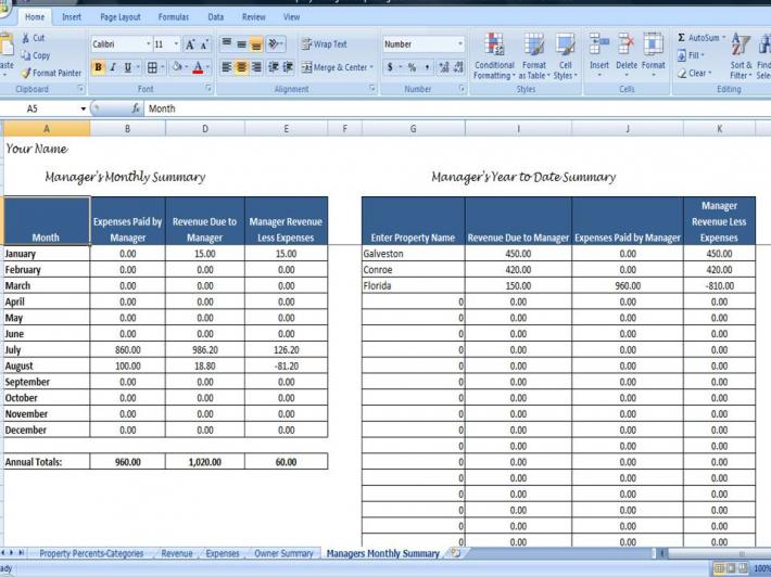Property Managers Template Rent Income and Expense Tracking – Income and Expenses Worksheet