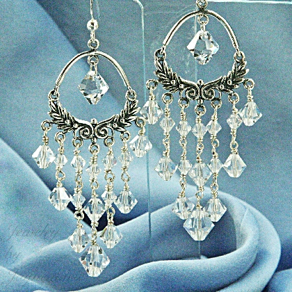 Handmade sterling silver bridal swarovski crystal chandelier handmade sterling silver bridal swarovski crystal chandelier earrings aloadofball Image collections