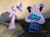 Handmade custom wooden Purple Fairy and Cottage