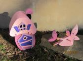 Handmade custom wooden Pink  Fairy and Cottage