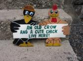 Handmade wooden painted Old Crow and Cute Chick sign for your yard