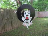 Handmade custom painted Puppy on a tire swing