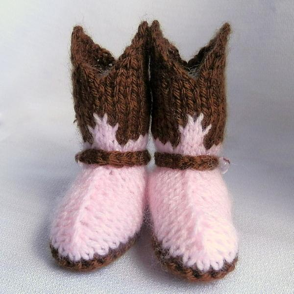 Knitting Pattern Baby Cowboy Booties : Cowgirl Baby Booties Hand Knit in Pink and Brown on ...