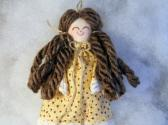Handmade Miniature Rag Doll Brunette in Polka Dots