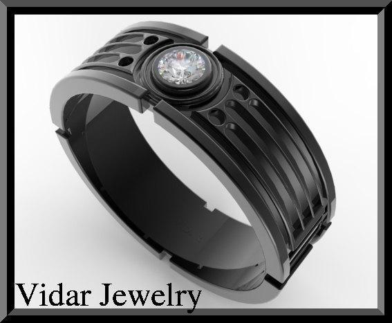 ON SALE Star Wars 14k Black Gold Diamond Men Wedding Ring on Handmade Artists